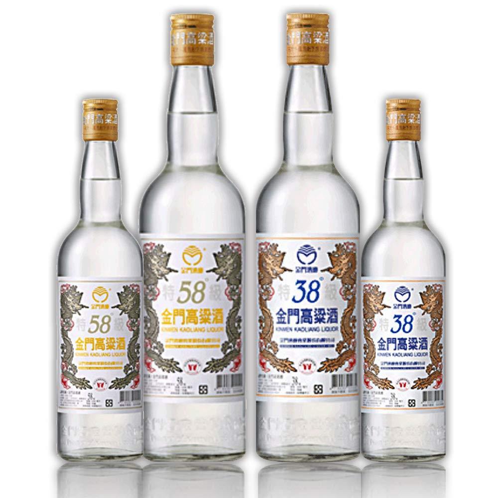 【金門湾】 金門高粱酒 台湾 酒 土産 高粱酒 58度&38度 600ml 全セット 4本 (300ml600ml) B0772N53DS