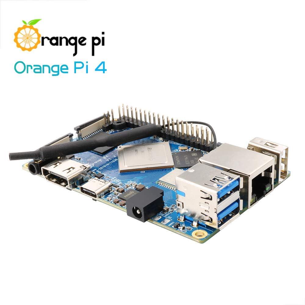 Orange Pi 4B Single Board Computer 6-Core ARM 64 Bit Motherboard Starter Built-in NPU Chip with Dual 4GB LPDDR4 16GB EMMC Flash