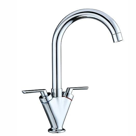 Funime® Kitchen Sink Mixer Taps Monobloc Swivel Spout Chrome Brass ...