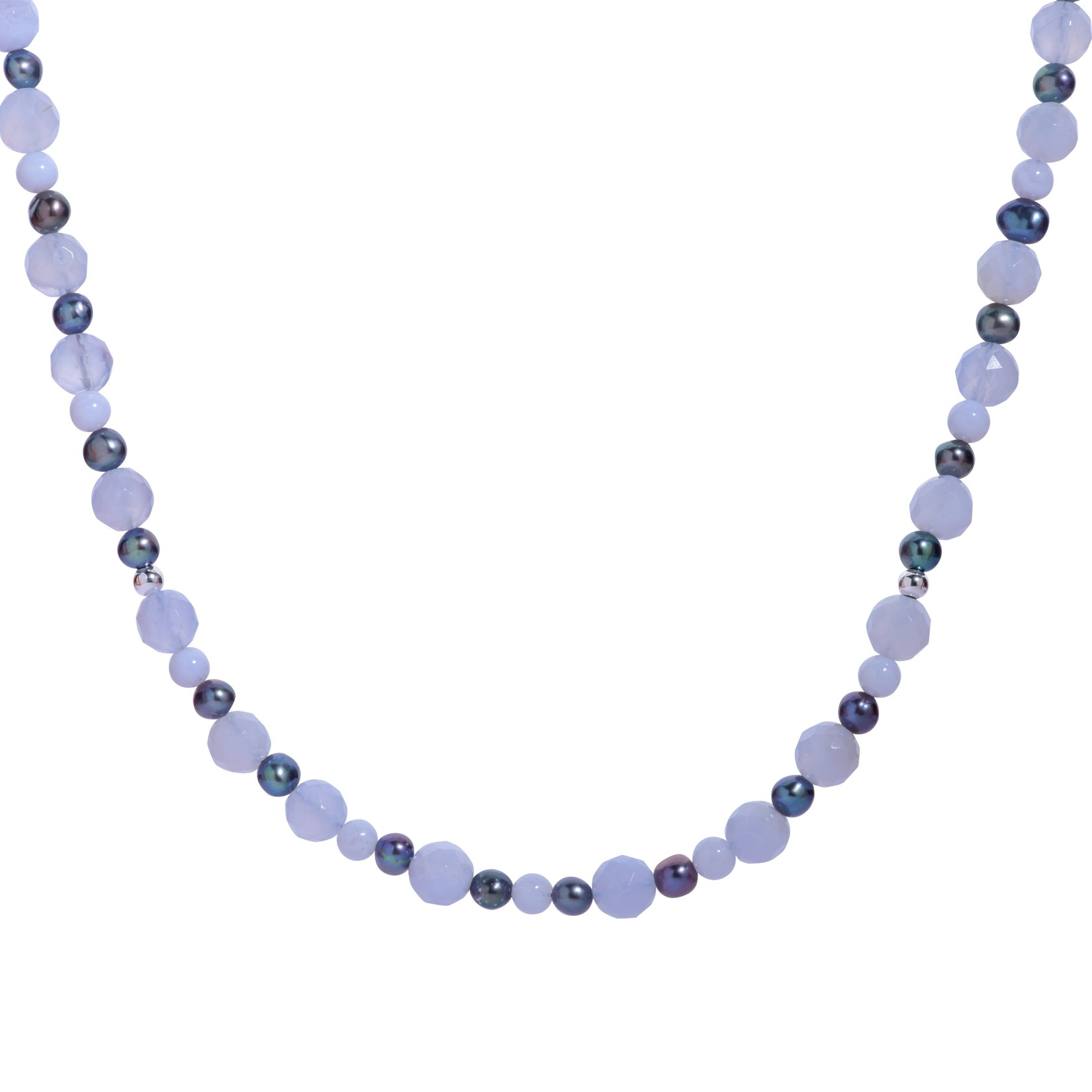 Carolyn Pollack Sterling Silver Blue Lace Agate and Peacock Pearl Gemstone Beaded Necklace 17 Inch