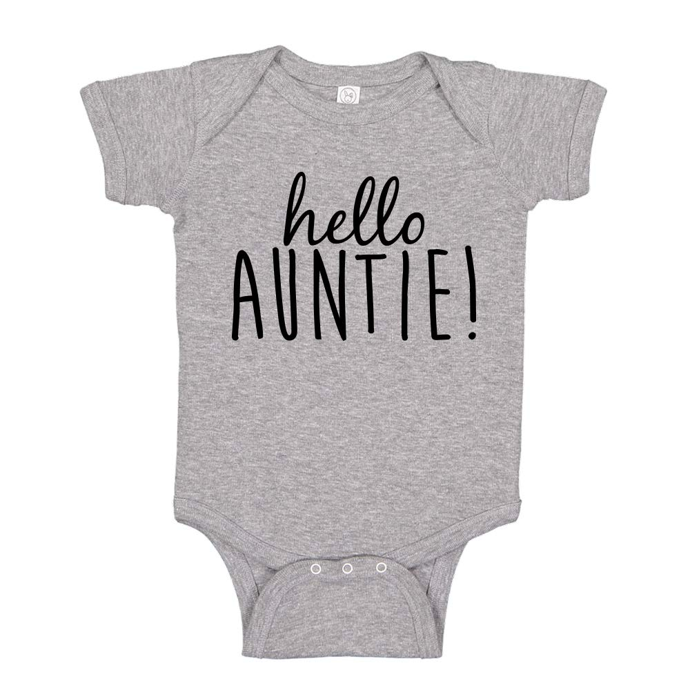 Hello Auntie Surprise Pregnancy Announcement Baby Bodysuit Shirt for Auntie to Be