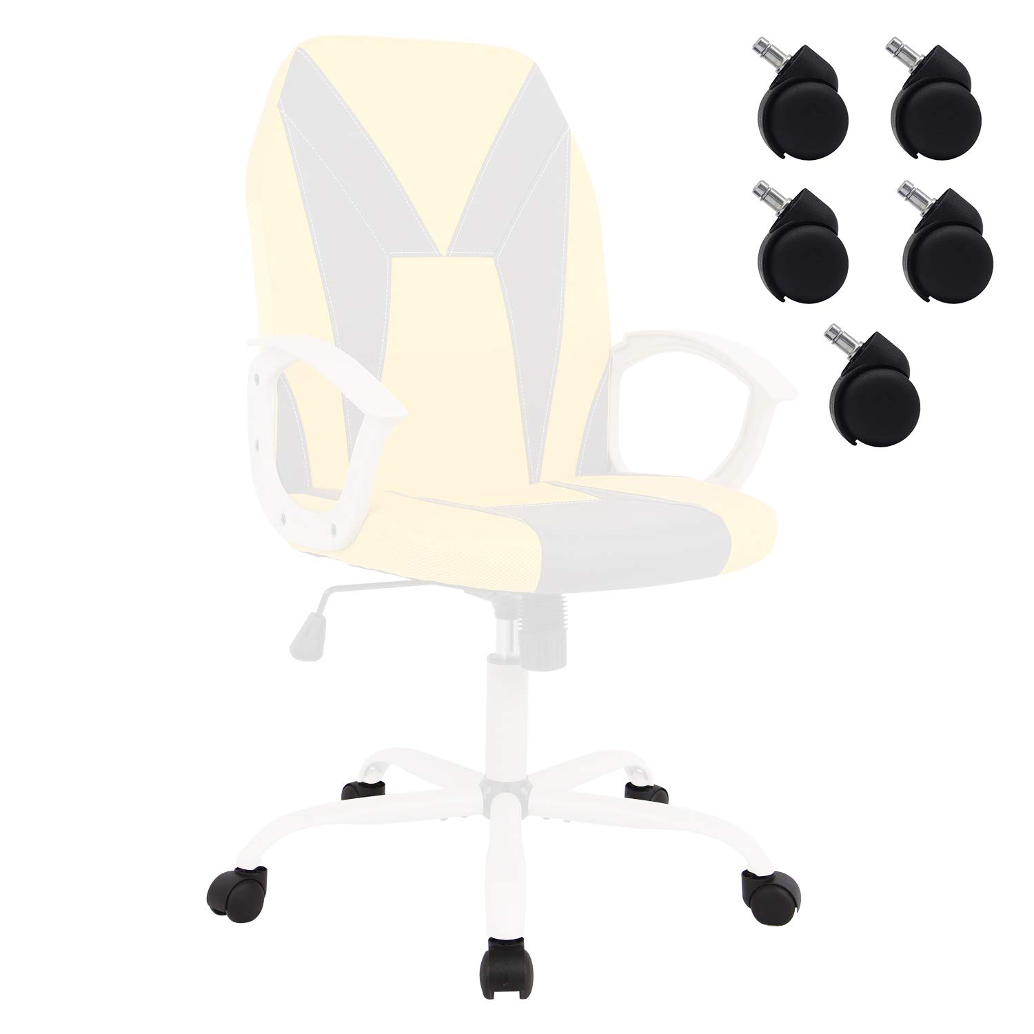 Smugchair Wheels for Office Ergonomic Office Chair Executive Bonded Leather Computer Chair (Black)