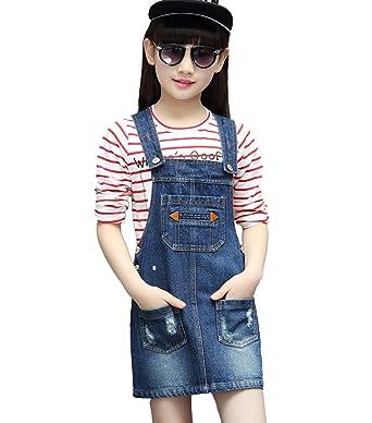 81e324922 Kidscool Girls Ripped Big Bibs Adjustable Straps Denim Overall Dress ,Blue,3-4