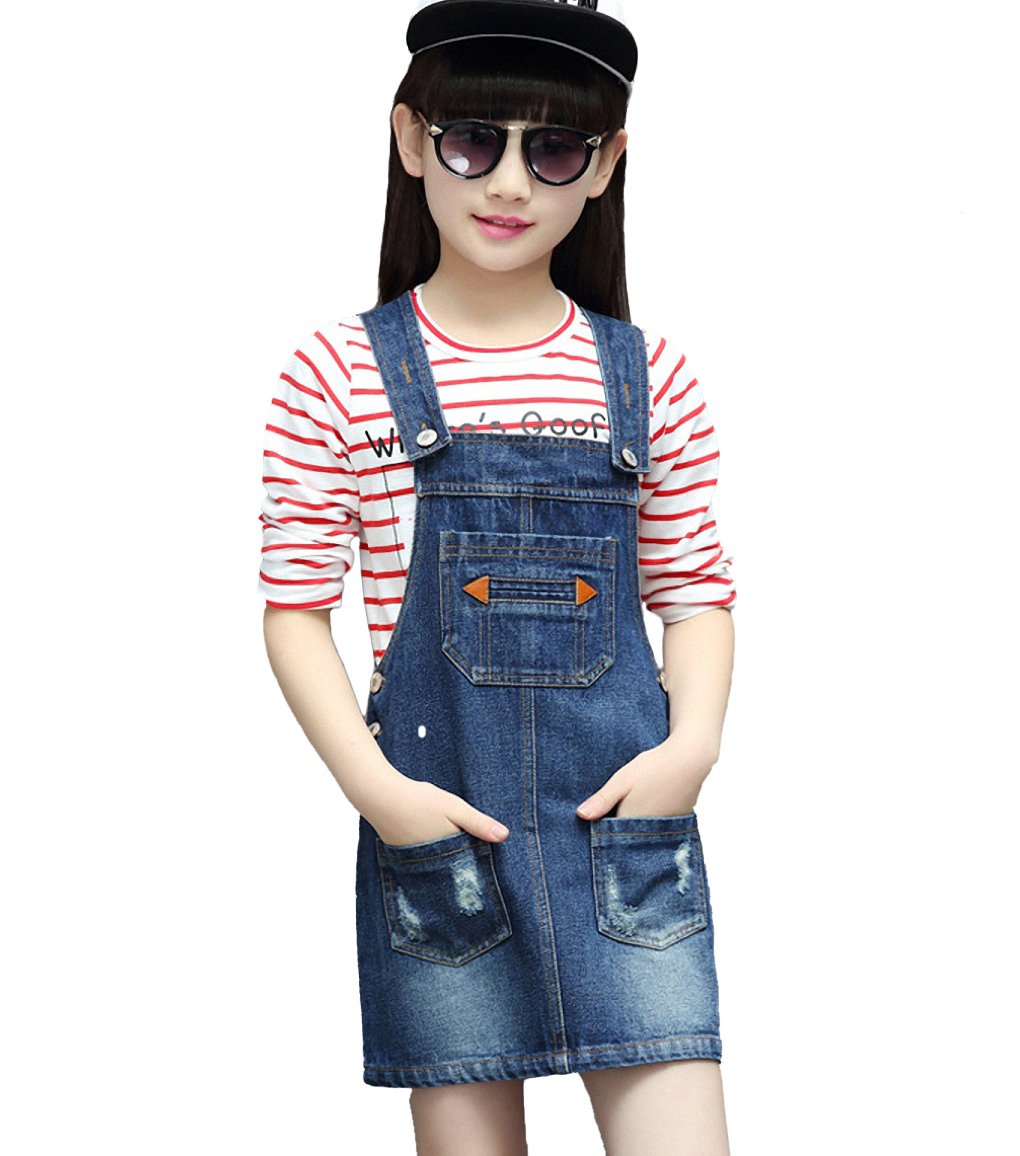 Kidscool Girls Ripped Big Bibs Adjustable Straps Denim Overall Dress,Blue,8-9 Years