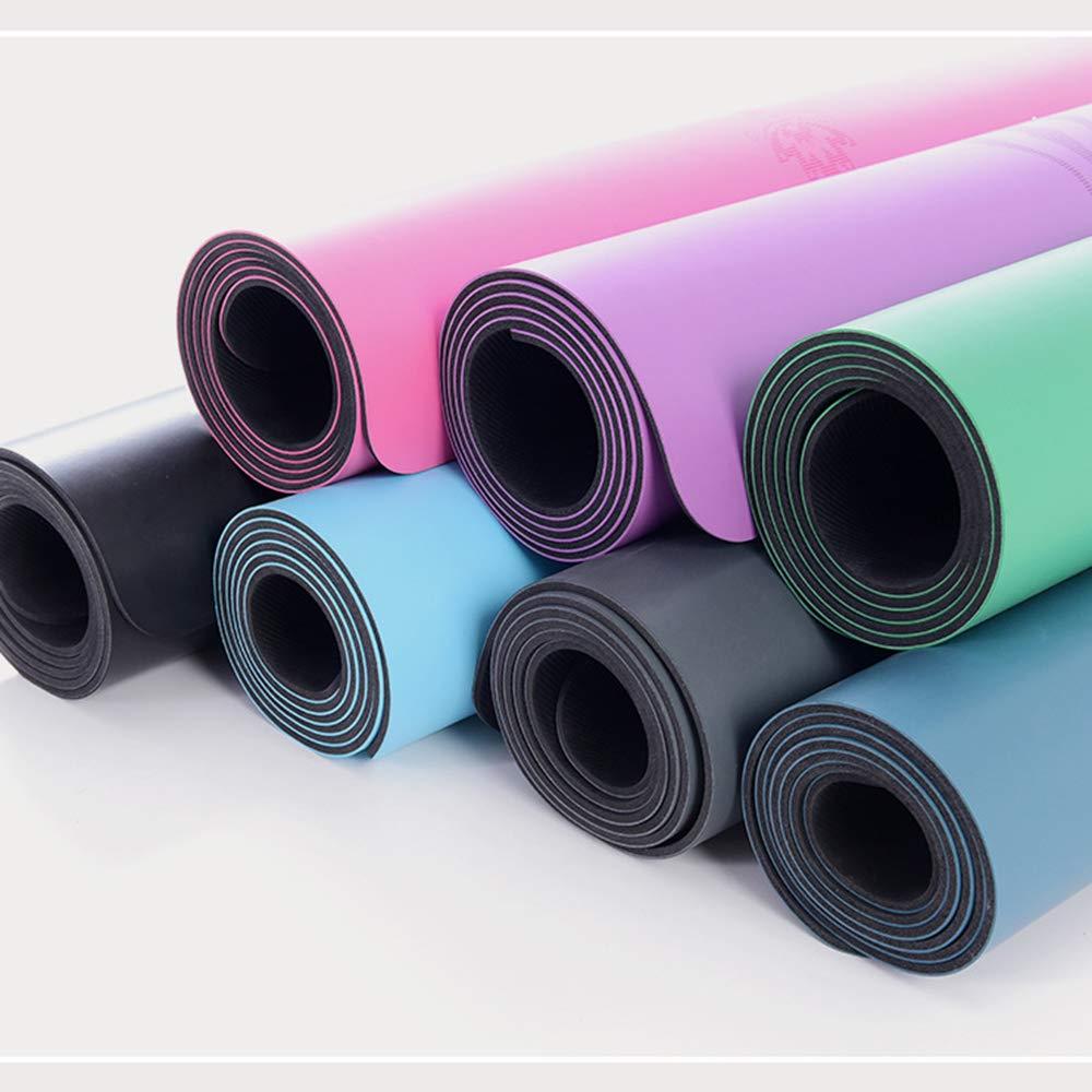 Naturkautschukmatten Umweltfreundliche Yogamatte, Premium-Druck-&Uu ;bungs-Fitnessmatte mit Ausrichtungslinien rutschfeste &Uu ;bungsmatte für alle Arten von Yoga-183  68  0.5cm-A-Sky-Blau