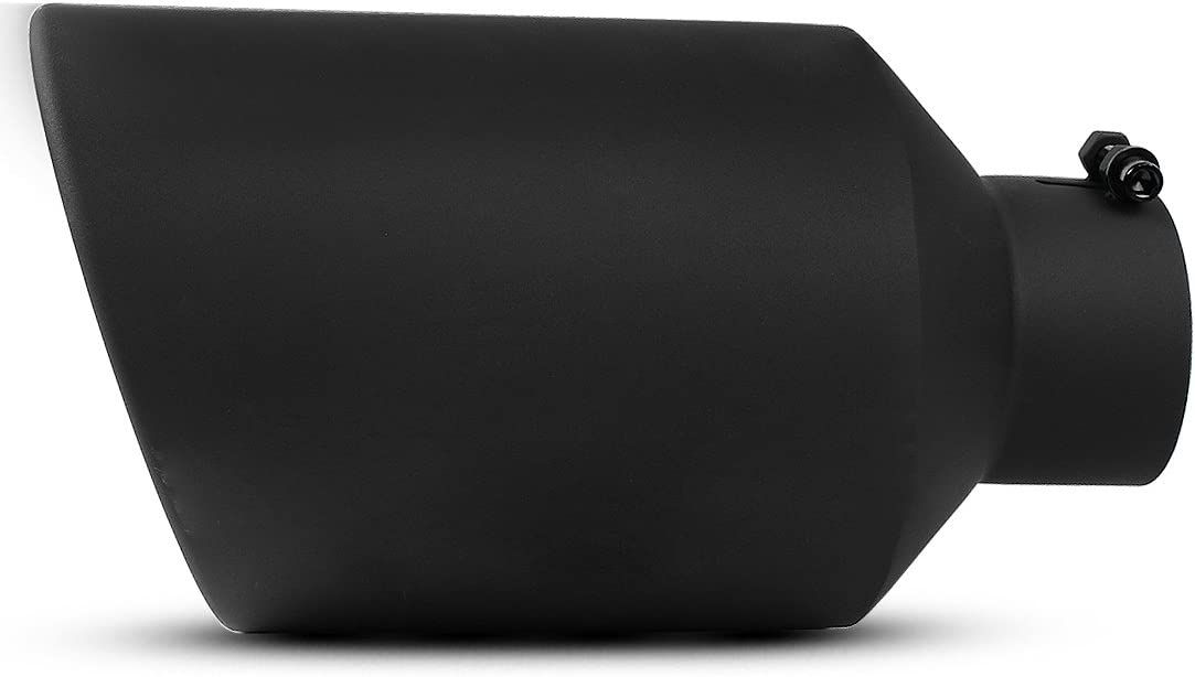 AUTOSAVER88 4 Inch Inlet Black Exhaust Tip, 4 x 8 x 15 Inches Stainless Steel Diesel Exhaust Tailpipe Tip for Truck Cars, Bolt/Clamp On Design.