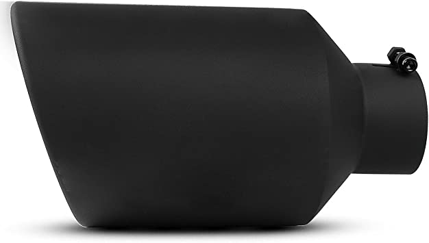 Richeer Universal Stainless Steel Diesel Exhaust Tailpipe Tip for Truck Cars 4 x 6 x 15 Bolt//Clamp On Design 4 Inch Inlet Black Exhaust tip