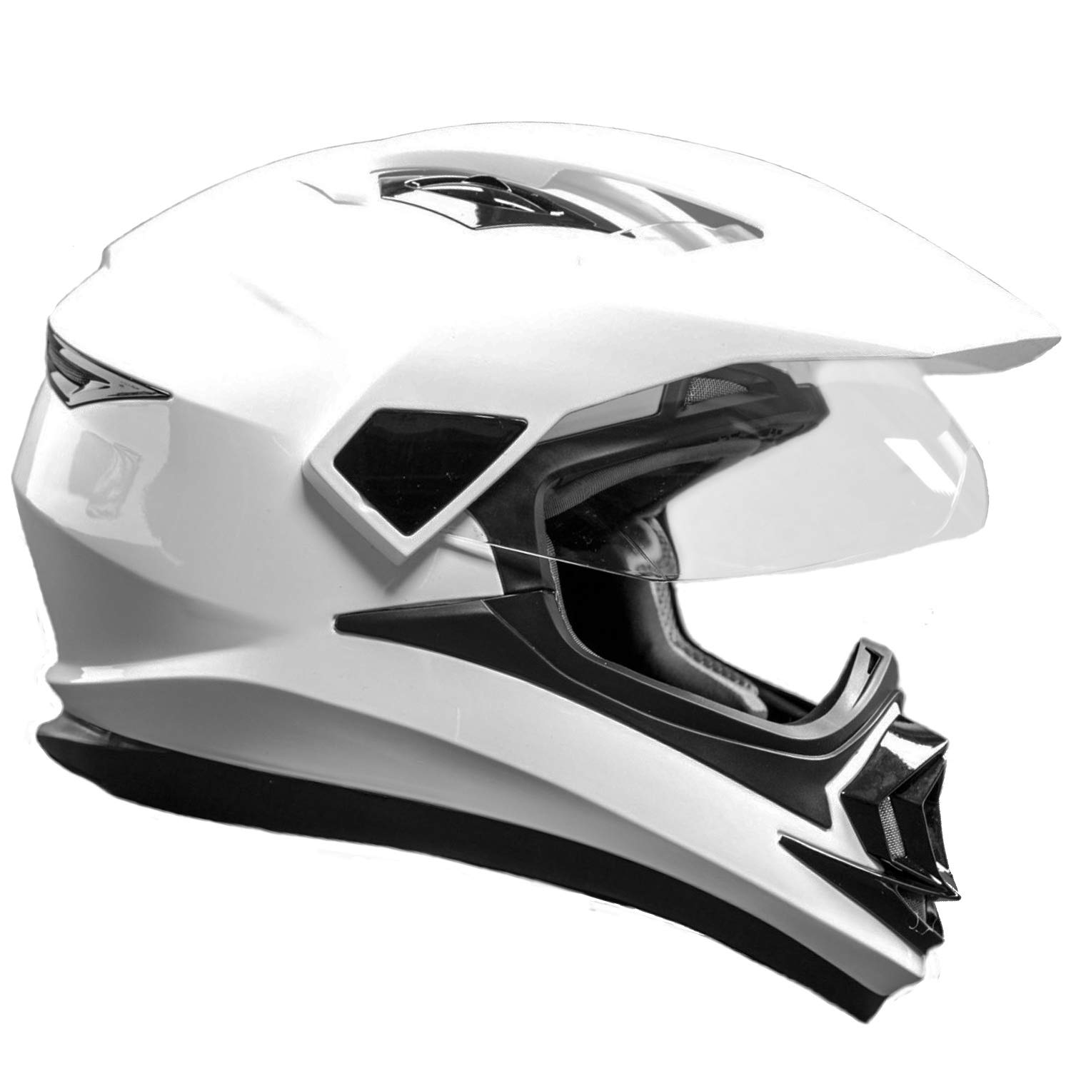 Typhoon XP14 Full Face Dual Sport Helmet Off Road UTV ATV Motorcycle Enduro White