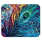 for Rectangle Mouse Pad with Peacock Feather Design - MousePad#242