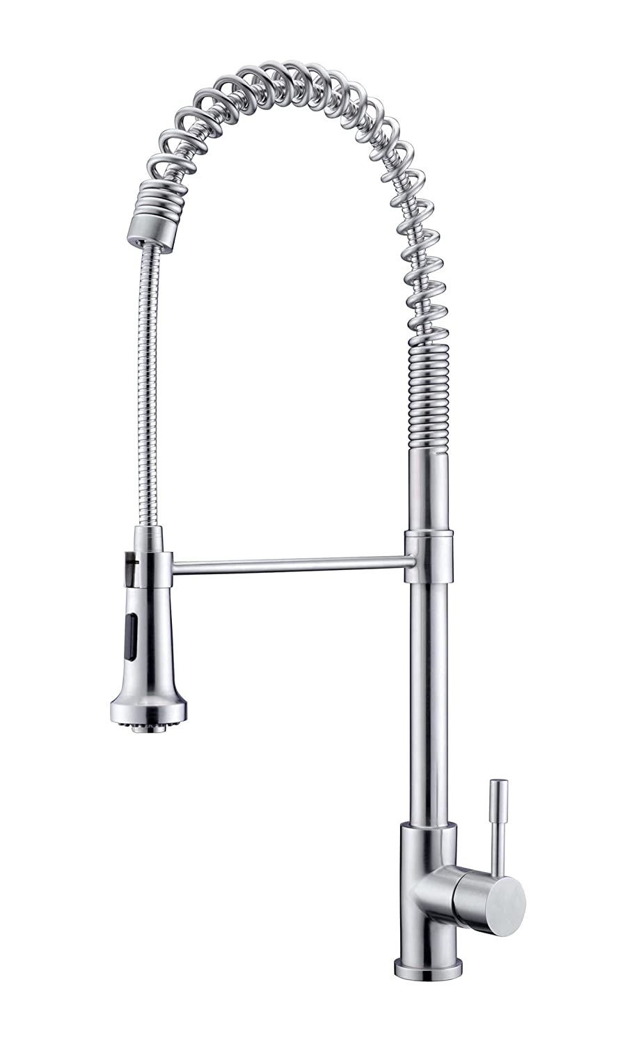 Purelux KingKong Commercial Style Coiled Spring Kitchen Faucet, Satin Stainless Finish, 10 YEAR WARRANTY, Professional Kitchen Sink Faucets