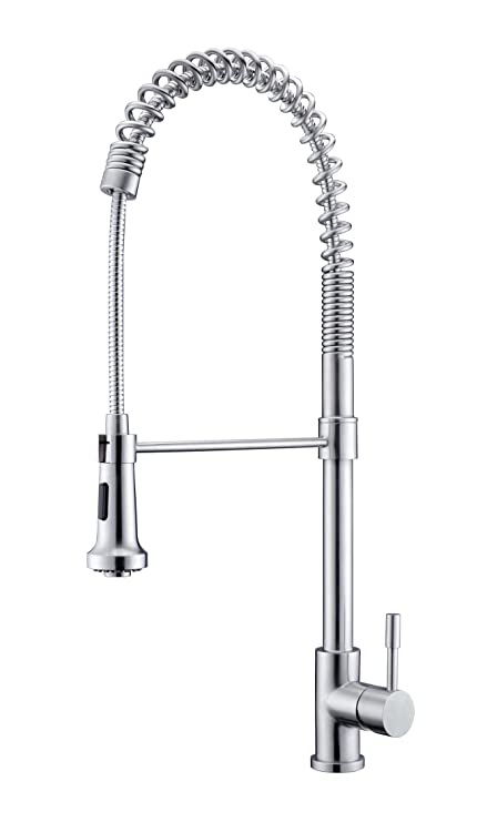 Purelux KingKong Commercial Style Coiled Spring Kitchen Faucet, Satin  Stainless Finish, Professional Kitchen Sink Faucets