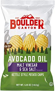 product image for Boulder Canyon Avocado Oil Kettle Cooked Potato Chips, Malt Vinegar & Sea Salt, Wavy Cut, 5.25 oz. Bag, 12 Count –Crunchy Chips Cooked in 100% Avocado Oil, Great for Lunches or Snacking on the Go