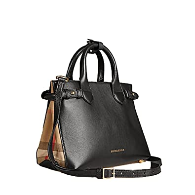 69abaf8555ca Tote Bag Handbag Burberrry The Small Banner in Leather and House Check  Black Item 39627461 Made in Italy  Handbags  Amazon.com