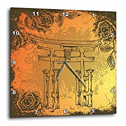 3dRose dpp_116374_3 Japanese Style Gate with Vintage Faux Etches Roses Oriental Asian Inspired Art Gift Wall Clock, 15 by 15