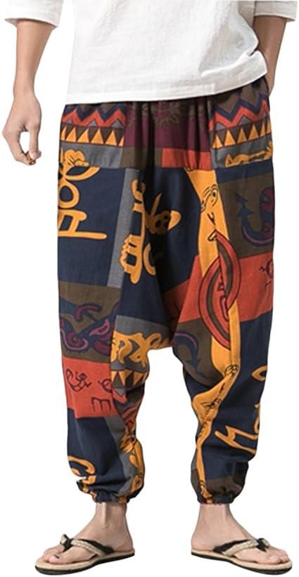 Zhhmeiruian Ropa Hippie Hombre Pantalones Harem Bombachos Para Hombre Y Mujeres Men S Aladdin Pants Summer Boho Harem Pants Wide Leg Soft Linen Trousers Amazon Com Mx Deportes Y Aire Libre
