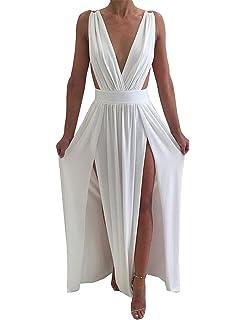 Maketina Womens Sexy Deep V Neck Backless High Slit Flowy Long Evening Dress 780310757