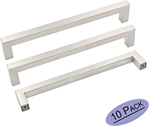 10Pack Goldenwarm Brushed Nickel Square Bar Cabinet Pull Drawer Handle Stainless Steel Modern Hardware for Kitchen and Bathroom Cabinets Cupboard, Center to Center 7-1/2in(192mm)