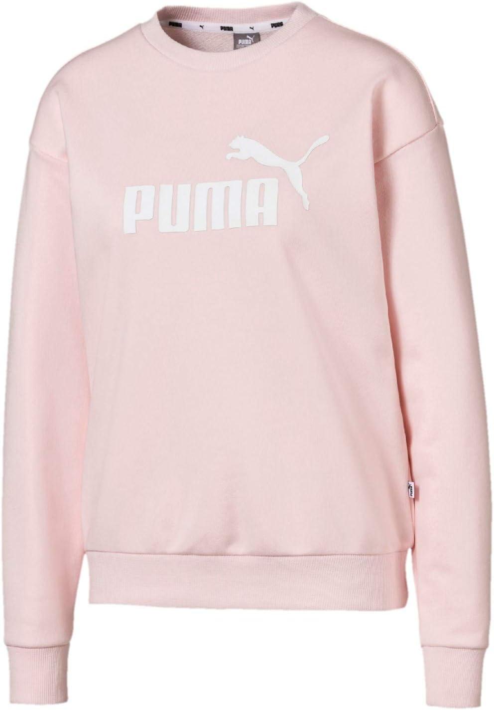 PUMA Essential Logo Crew Sweatshirt-Rosa, Weiß Camisetas, Mujer