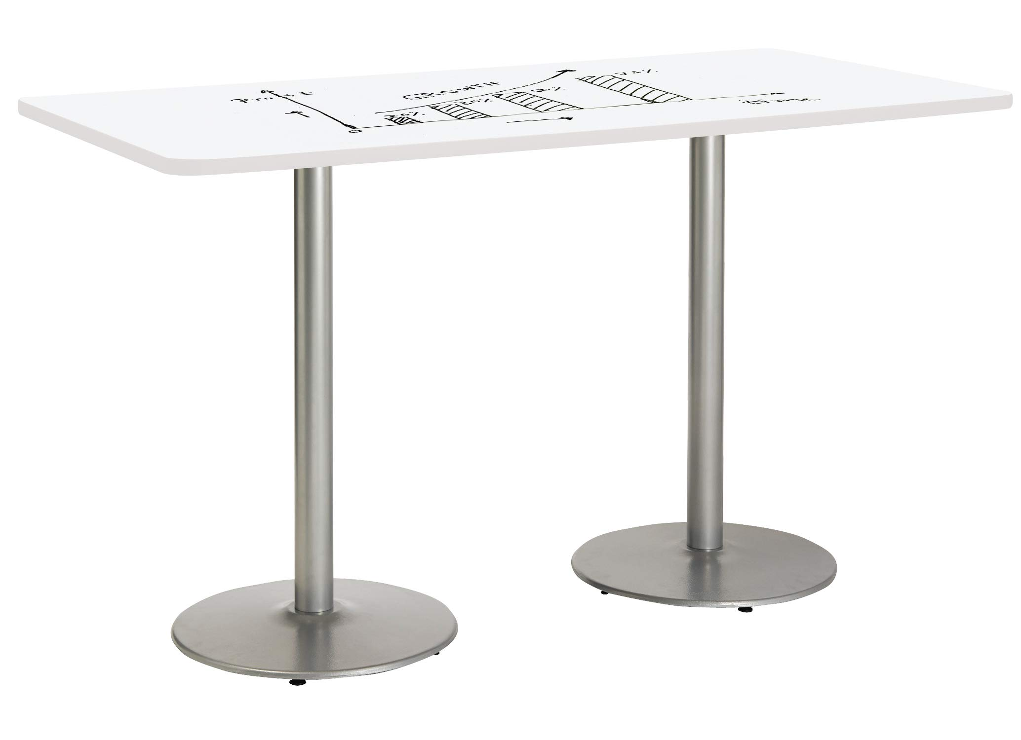 KFI T3072-B1917-SL-3105-WH-38 Whiteboard Pedestal Table, 30'' W x 42'' D x 72'' H, White by KFI