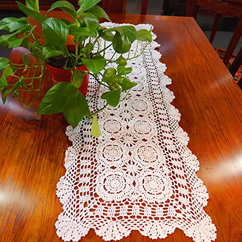 Hand Crocheted Runner (Hoomy Hand Crochet Table Runner White Floral Table Runners Hollow Lace Table Cloth Crocheted Table Runner for Coffee Table Decoration 15