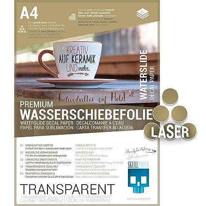 SKULLPAPER® película para diapositivas de agua transparente, A4 para cerámica, vidrio, madera, velas, metal, plástico, confección de modelos - para ...