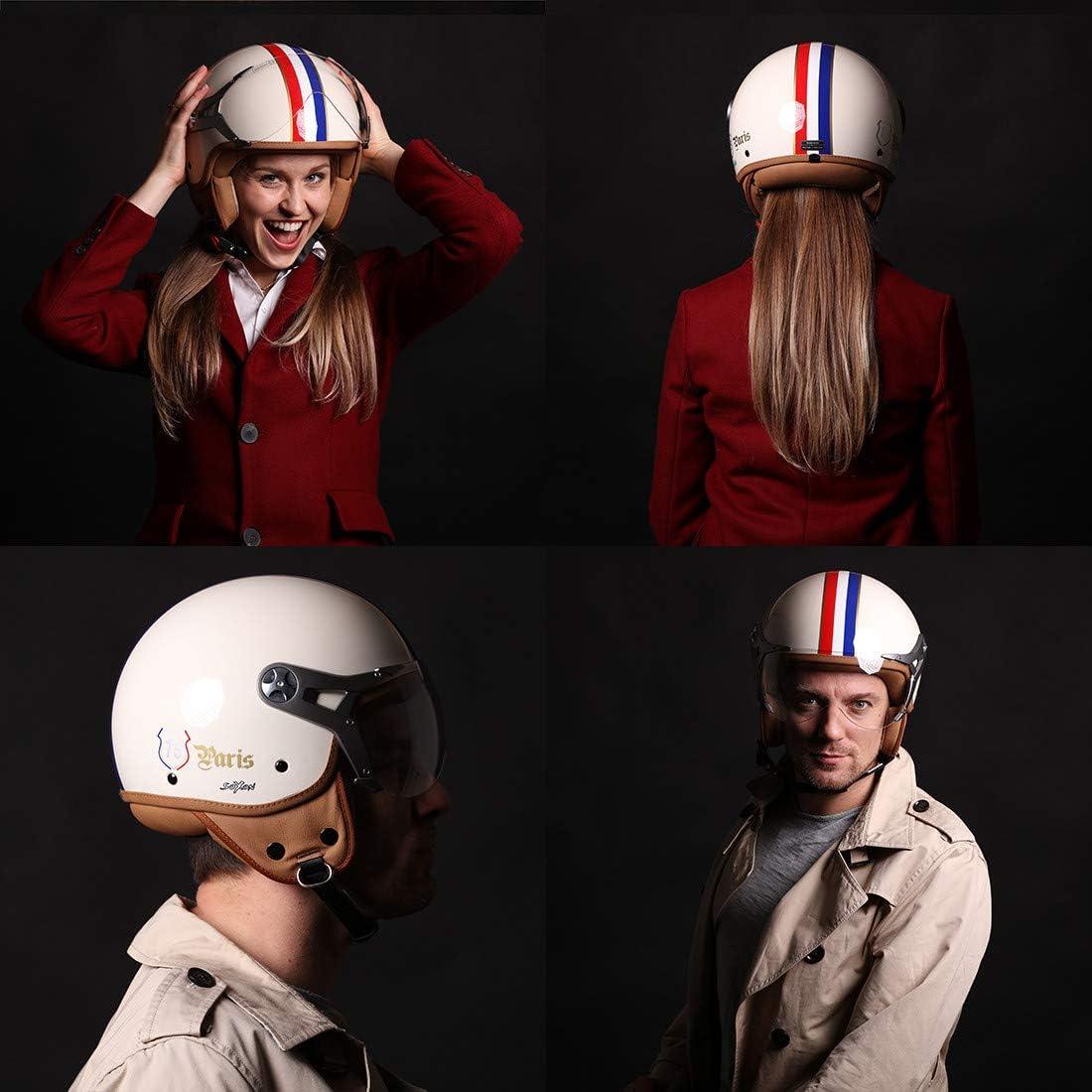 Visor /· incl Cloth Bag /· Beige /·  M SOXON SP-325 Paris /· Scooter-Helmet Bobber Moto-Helmet Pilot Cruiser Mofa Biker Jet-Helmet Retro Chopper Vintage Vespa-Helmet /· ECE certified /· incl 57-58cm