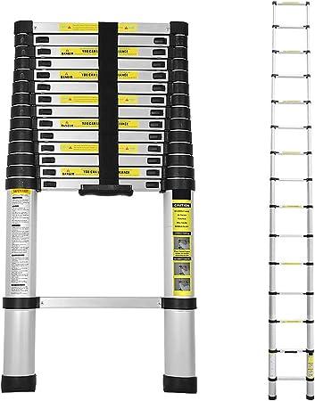 Rutschfester Klappleiter Stehleiter Mehrzweckleiter aus hochwertiges Aluminium 3,2M Schwarz 150 kg// 330 Pfund Belastbarkeit WolfWise 3,2M Teleskopleiter
