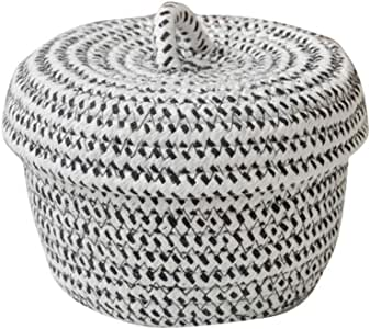 SHYPT Cotton Rope Basket Woven Laundry Basket Storage Hamper, Small Storage Box with Lid for Bedroom Living Room Decor Shelf Basket