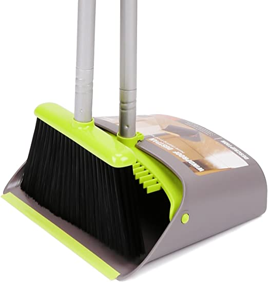 Kylin Express Durable Removable Broom and Dustpan Standing Upright Grips Sweep Set with Long Handle B2