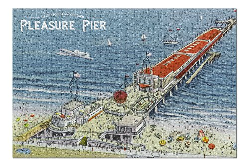 Galveston, Texas - Aerial View of Pleasure Pier and the Beach Front - Vintage Halftone (20x30 Premium 1000 Piece Jigsaw Puzzle, Made in USA!)