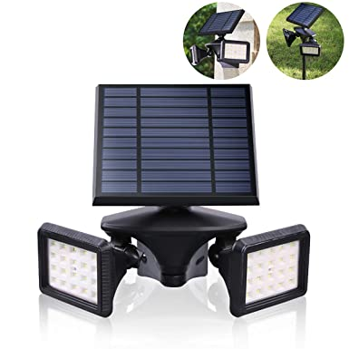 Dual-Head LED Wall Pack, IP65 Solar Wall Light Waterproof, 6000K Motion Sensor Radar Induction Security Flood Light Rotatable, Double Head Adjustable LED Light Garden Fencing Outdoor, EMANER