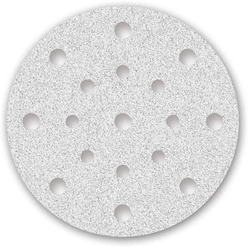MENZER White Klett-Schleifscheiben 150 mm Exzenterschleifer Korund mit Stearat 50 Stk. f Korn 40 17-Loch