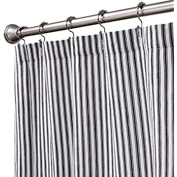 """72/"""" French Country Ticking Stripe Black Fabric Shower Curtain Cotton"""