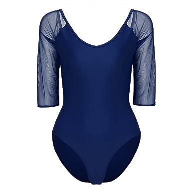 TiaoBug Femme Justaucorps de Danse Classique Ballet Gymnastique Combinaison  à 3 4 Manche Tulle Body 1ddba12a240