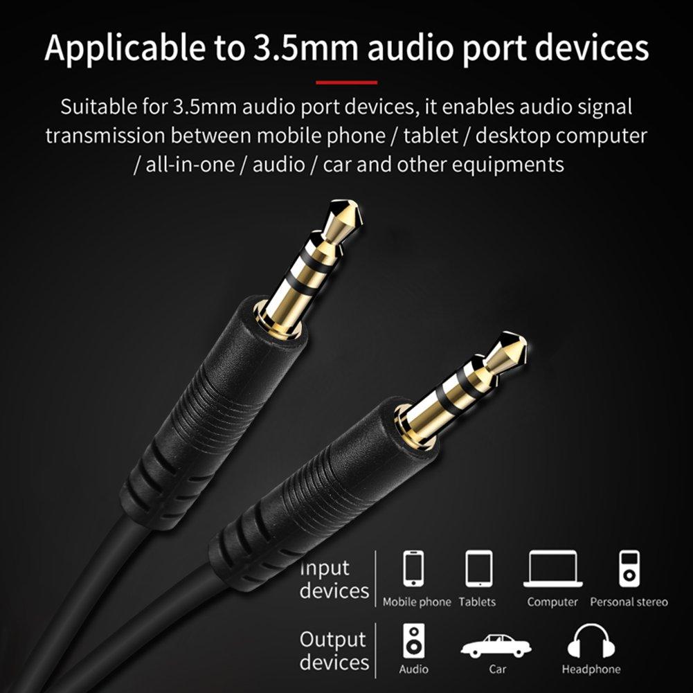 rungao macho a macho M/M Conector Estéreo De 3,5 mm Cable de audio AUX para Coche Auriculares MP3 20 cm: Amazon.es: Electrónica