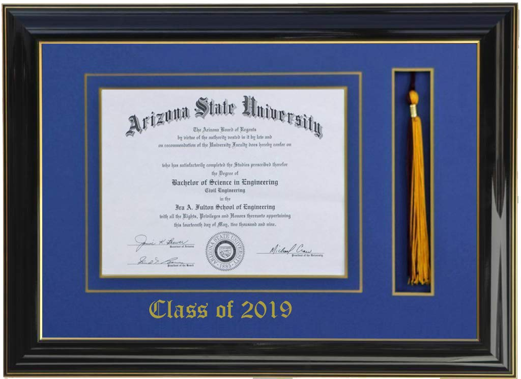 3art DIPLOMA TASSEL FRAME 8 X 6 BLACK/BLUE (CUSTOMIZABLE) 2019