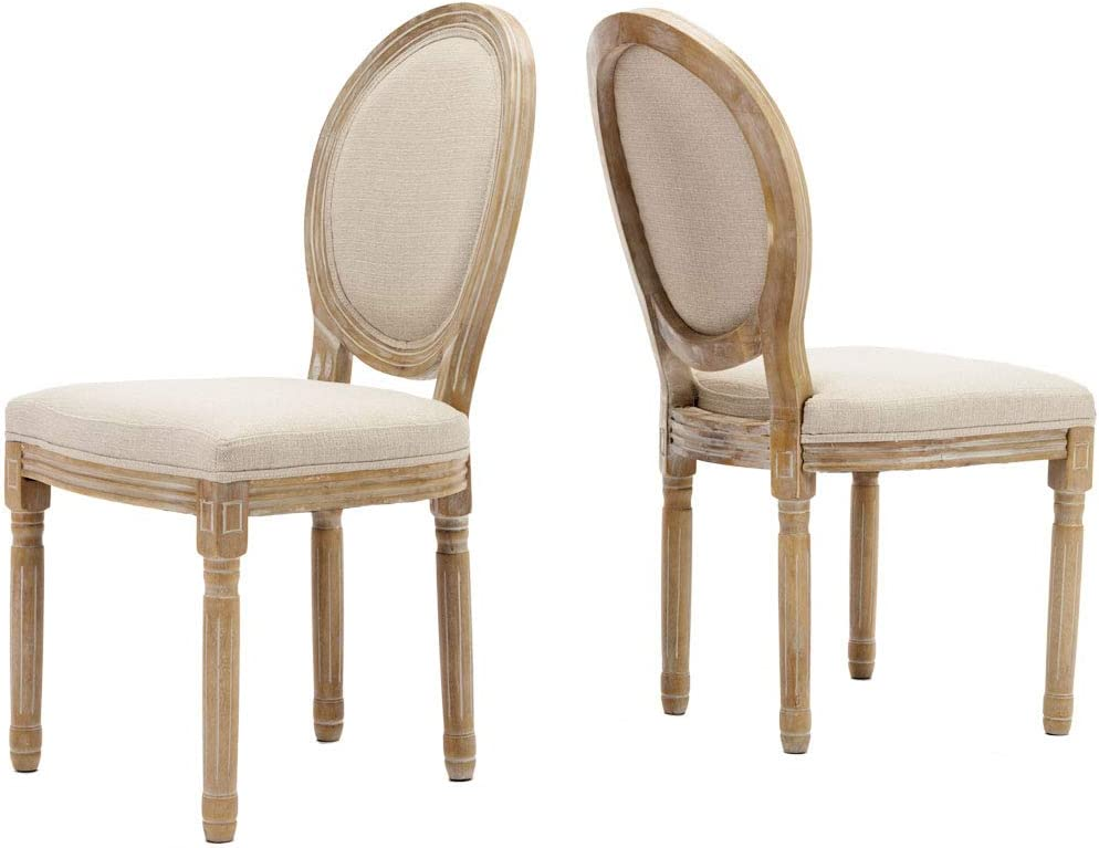 Farmhouse Dining Room Chairs, French Distressed Bedroom Chairs with Round Back, Elegant Tufted Kitchen Chairs, Set of 2, Beige