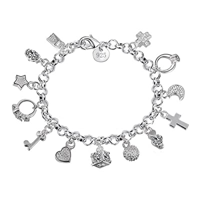 Fablcrew Plated Silver Women Cuff Bracelet, with 13 Pendants Size 21cm: Home & Kitchen [5Bkhe1203573]