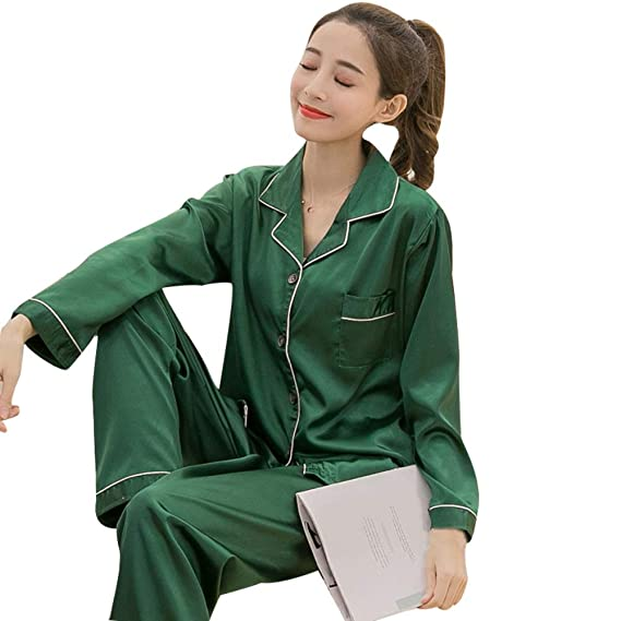 dcfbea7d4b7 bigcity Women Solid Color Silky Pajama Set Long Sleeve Top Pants Two-pieces  Sleepwear Pajamas Women S Long-Sleeved Pants Spring And Autumn Solid Color  Silk ...