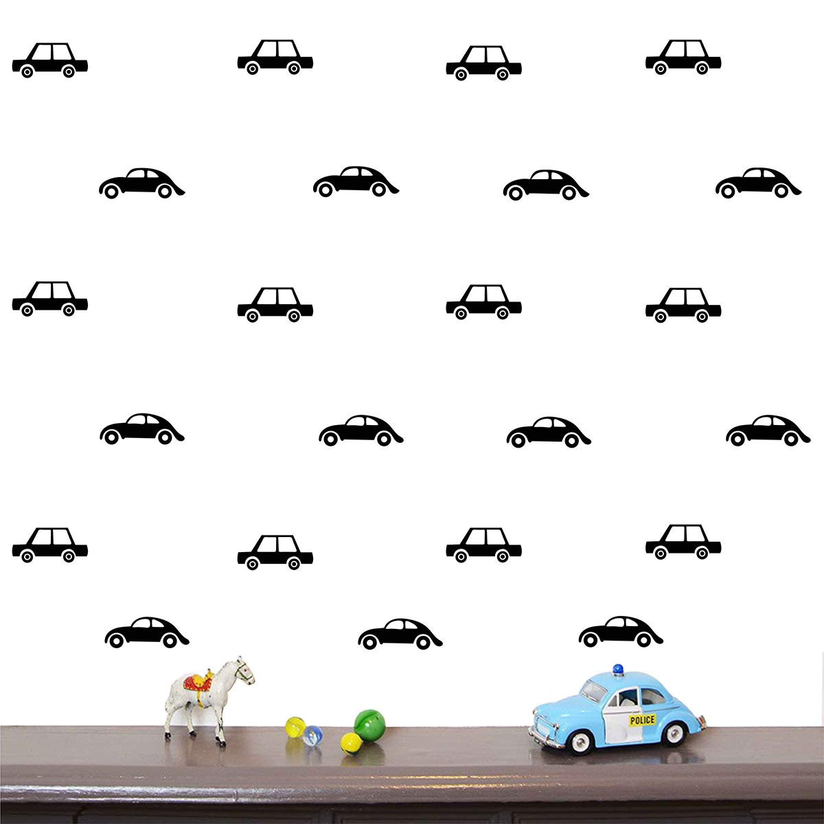 Black Melissalove 32pcs Taxi Wall Stickers for Kids Room Boys Bedroom Wall Decal removablle Vinyl DIY Wall Art Sticker Classic Cars Mural A695