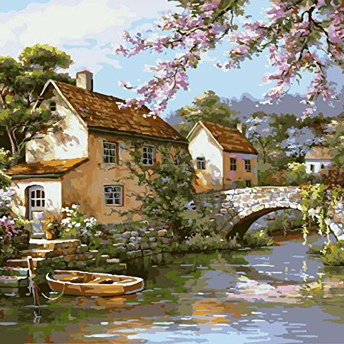 Fairylove 40 x 50 Paint by Numbers for Adults DIY Oil Painting,Arch Bridge and Flowing Creek