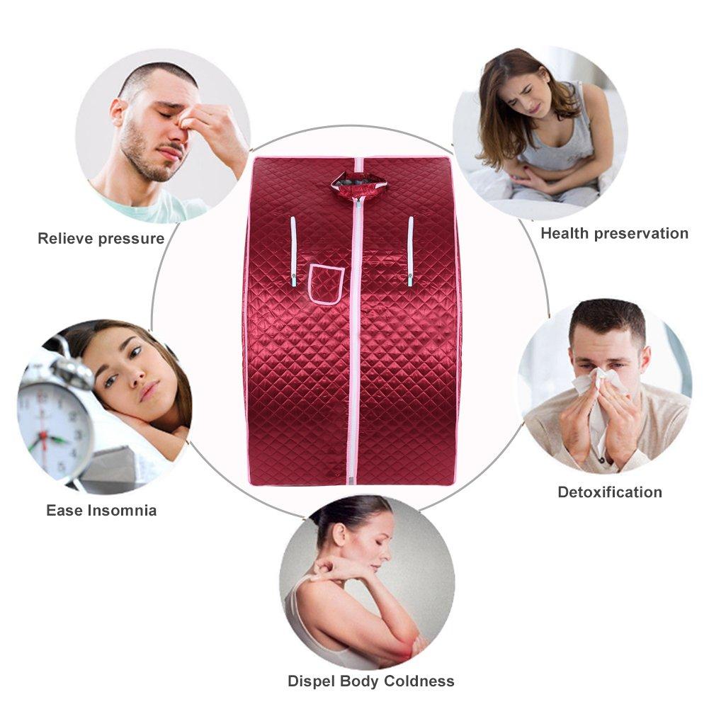 Flyelf Portable Sauna Th/érapeutique Vapeur Spa Chaise Maison Relax 98 x 70 x 80 cm 1.8L Argent