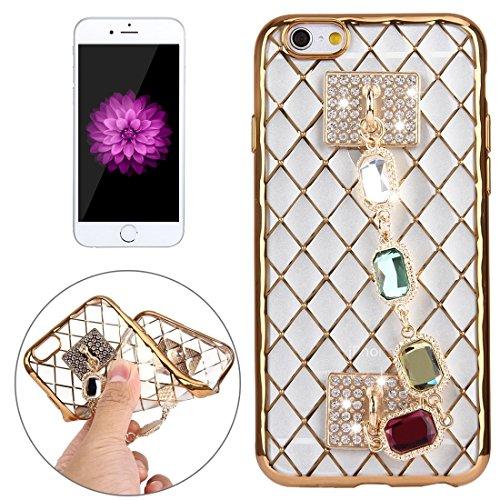 Wkae Case Cover Für iPhone 6 Plus &6s Plus-Grid Textur Diamant-Verkrustete Handkette Galvanotechnik Feld TPU-Schutzhülle