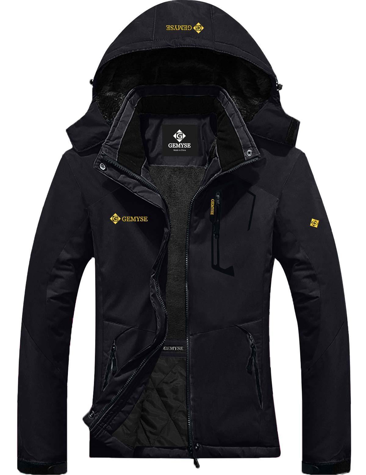 GEMYSE Women's Mountain Waterproof Ski Snow Jacket Winter Windproof Rain Jacket (Black, S) by GEMYSE