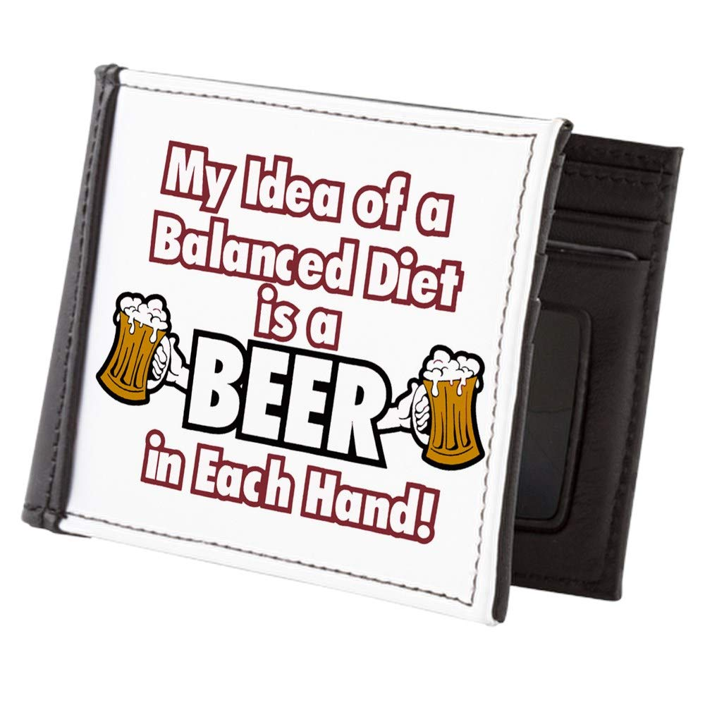 Royal Lion Mens Wallet Billfold My Idea Balanced Diet Beer Each Hand