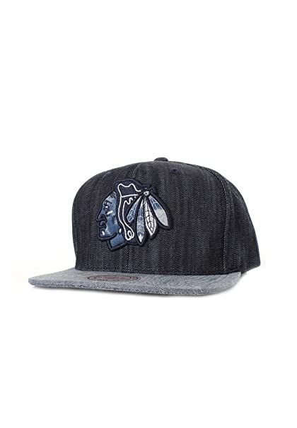 6613ab0d8170a Mitchell   Ness Chicago Blackhawks Blue Linen VR15Z Snapback Cap Kappe  Basecap