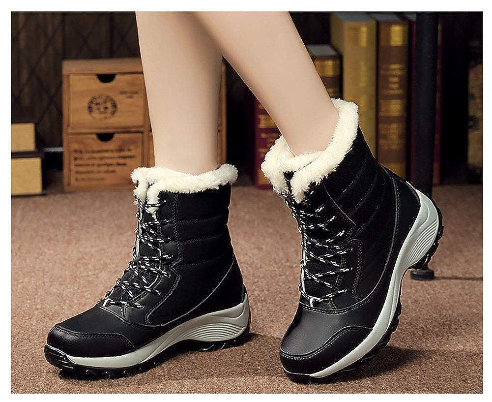Damen Damen Damen Schneeschuhe Warme und Samtige Wasserdichte Rutschfeste Dicke Modestiefel,schwarz,EU38 UK4.5 7708b5