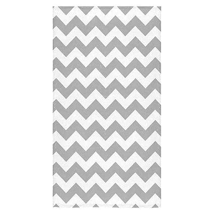 Elegante y personalizada suave y cómodo gris Chevron Zigzag patrón de rayas toalla de baño 30
