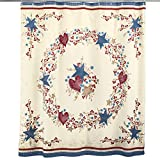 Collections Etc Country Berry Wreath Vines Shower Curtain with Checkered Border