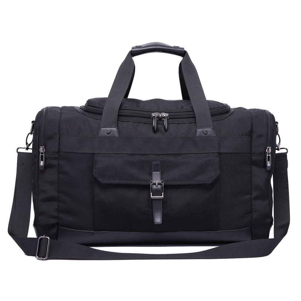 Domila Travel Duffel Bag Unisex Weekender Bag, TSA Friendly, Carry-on Luggage Tote Overnight Bag, 21'' L, Black by Domila
